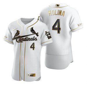 Cardinals #4 Yadier Molina White Golden Jersey